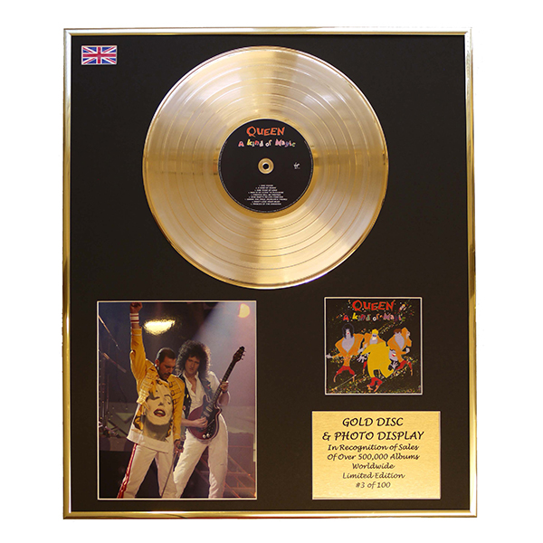 Queen A Kind Of Magic Framed & Mounted Large CD Gold Disc Limited Edition of 100 Only No Colour