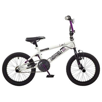 Rooster Radical Single Speed BMX, 16in Wheel, White/Black
