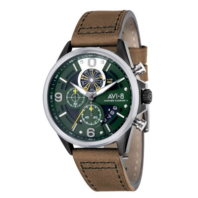 Avi-8 Gents Hawker Harrier II IP Chronograph Watch with Genuine Leather Strap