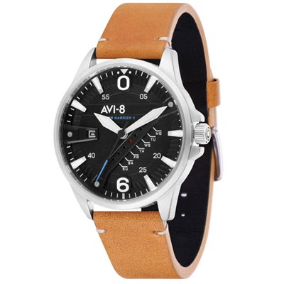 Avi-8 Gents Hawker Harrier II Day Date Watch with Genuine Leather Strap