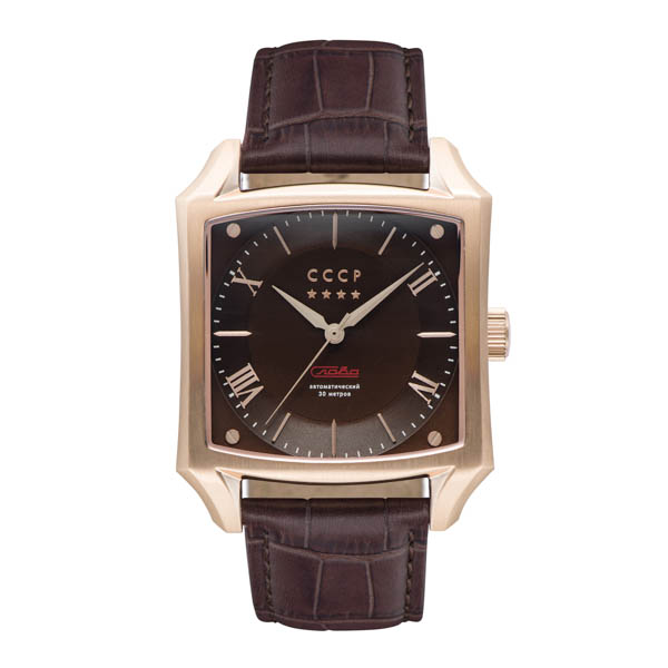 CCCP Gents Spasskaya Automatic Watch with Genuine Leather Strap Rose Gold