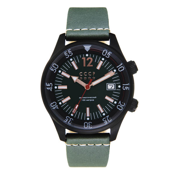 CCCP Gents Black Sea Automatic Watch with Genuine Leather Strap Green