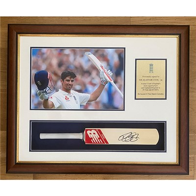 Alastair Cook Signed Mini Cricket Bat
