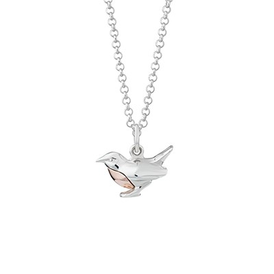 Lily Charmed Sterling Silver Robin Necklace