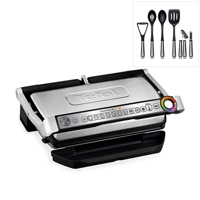 Tefal Optigrill Plus XL GC722D40 with a 6 Piece Nylon Utensil Set
