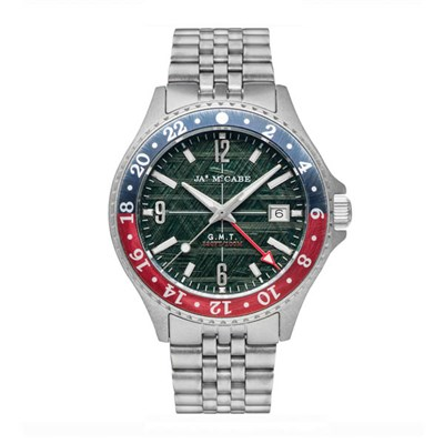James McCabe Gents Baja GMT Watch with Stainless Steel Bracelet