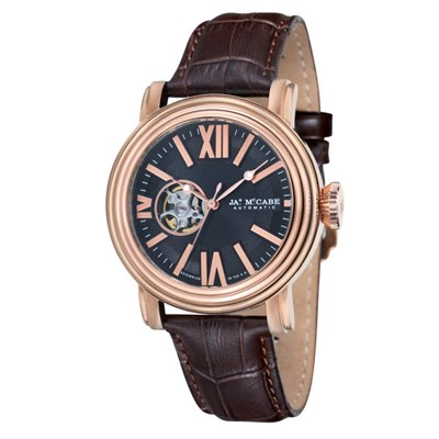 James McCabe Gents Victory Open Heart Watch with Genuine Leather Strap