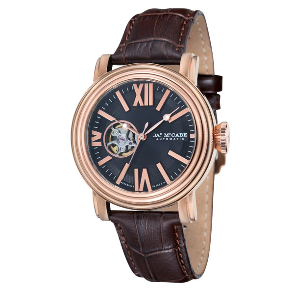 Image of James McCabe Gents Victory Open Heart Watch with Genuine Leather Strap