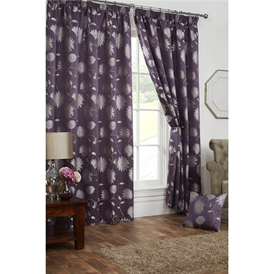 Freya Lined Pencil Pleat Curtains - 66 Inches