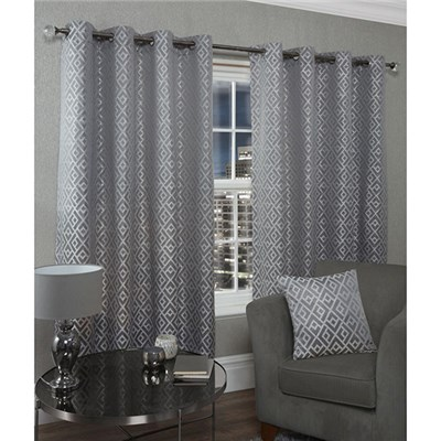 Athens Lined Eyelet Curtains - 46 Inches