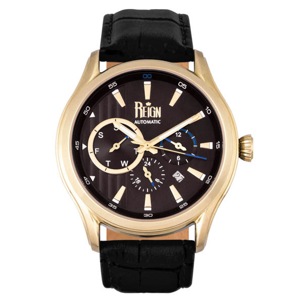 Reign Gent's Gustaf Automatic Watch with Genuine Leather Strap Gold