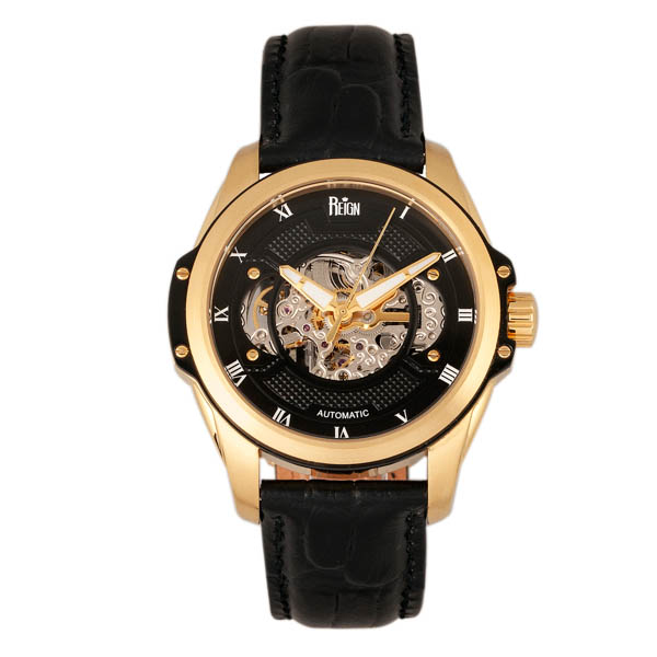 Reign Gents Henley Automatic Watch with Genuine Leather Strap Gold