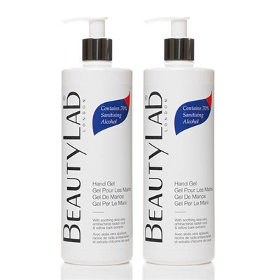 BeautyLab Hand Gel with 70% Sanitising Alcohol and Aloe Vera 500ml (Twinpack)