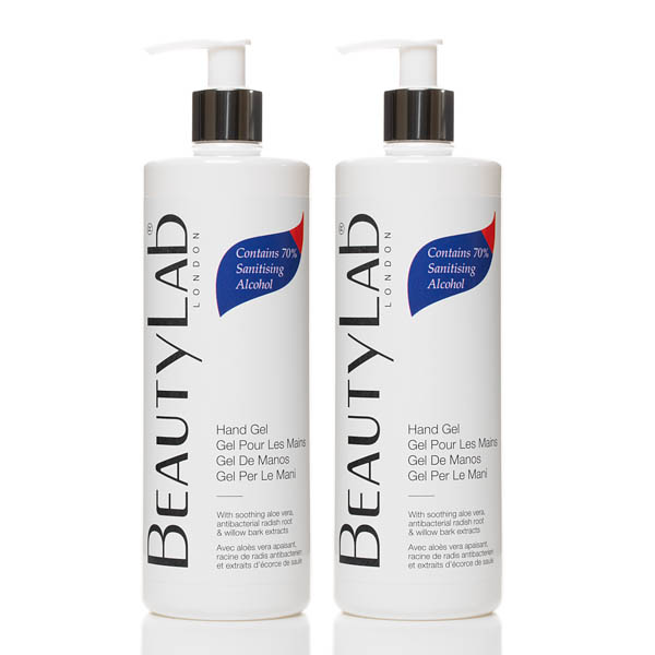 Image of BeautyLab Hand Gel with 70% Sanitising Alcohol and Aloe Vera 500ml (Twinpack)