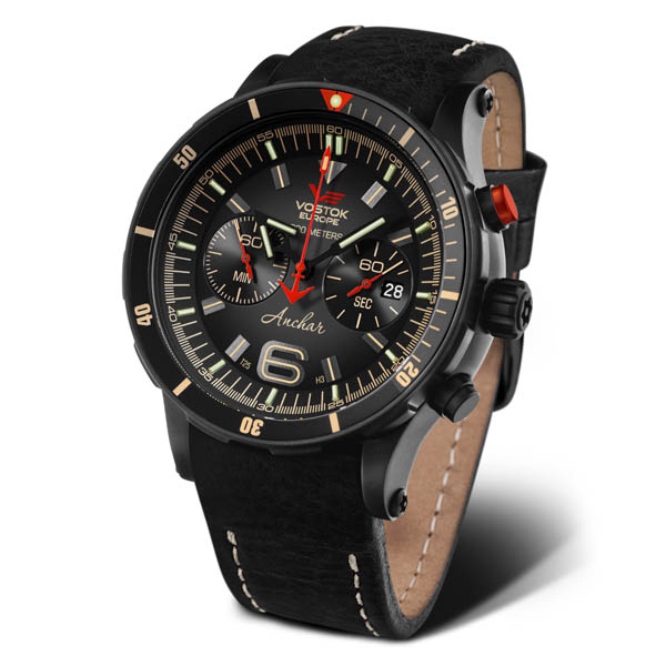 Image of Vostok Europe Gents Anchar PVD Chronograph Dive Watch with Interchangeable Strap and Dry Box