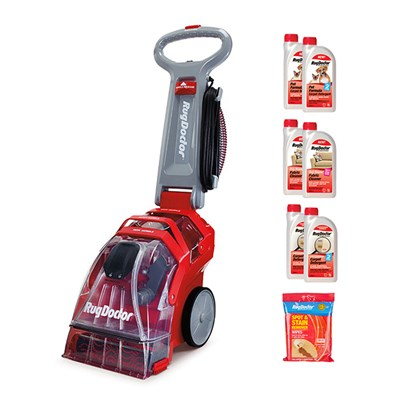 Rug Doctor Upright Carpet Cleaner with Carpet and Pet Detergent, Fabric Cleaner and Stain Wipes