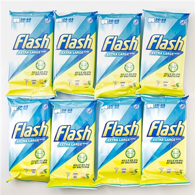 Flash Strong Weave Lemon Cleaning Wipes (8 Packs of 48 Wipes)