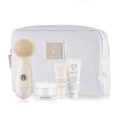 Crystal Clear Ionic Sonic Cleanse Kit (Brush, Cleansing Gel, Polish, Serum, Bag)