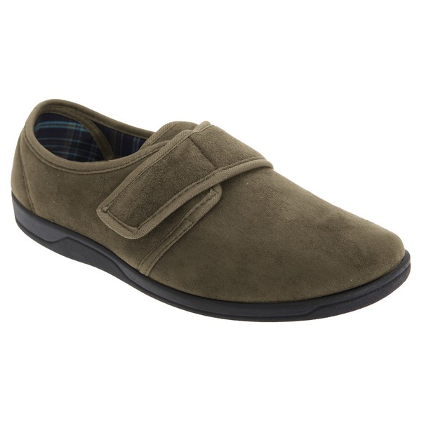 Sleepers Mens Tom Imitation Suede Touch Fastening Slippers Khaki