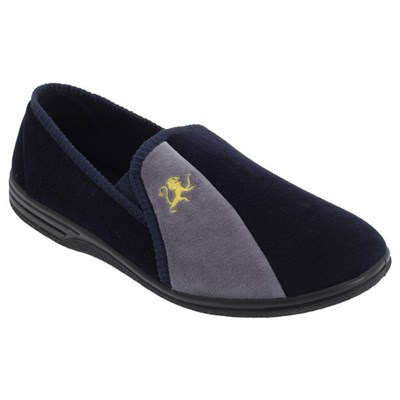 Zedzzz Mens Aaron Twin Gusset Velour Slippers