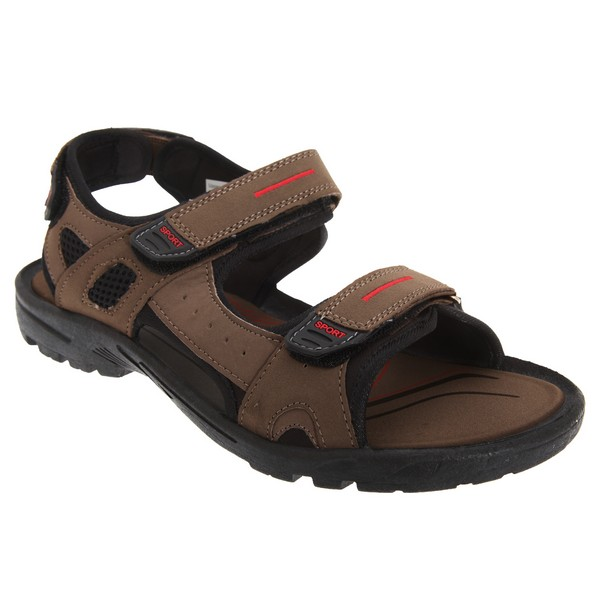 PDQ Mens Triple Touch Fastening Sports Sandals Brown