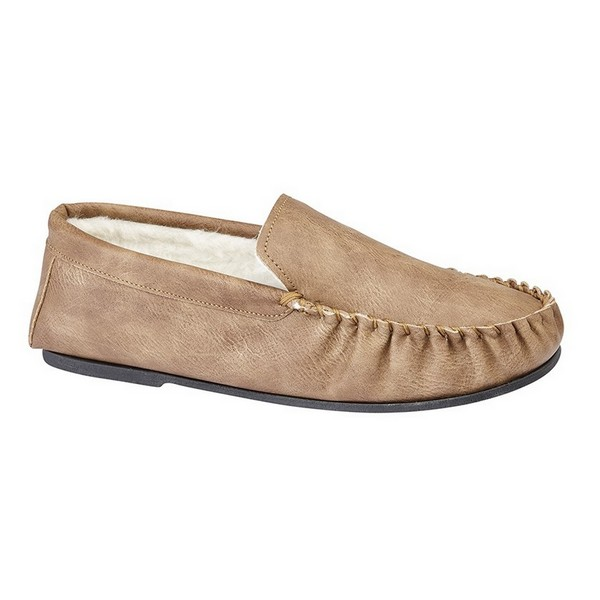 Mokkers Mens Ian Warm Lined Moccasin Slipper Tan
