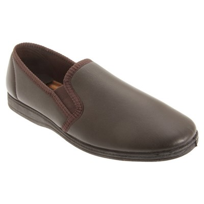Sleepers Mens Softie Leather Twin Gusset Slippers