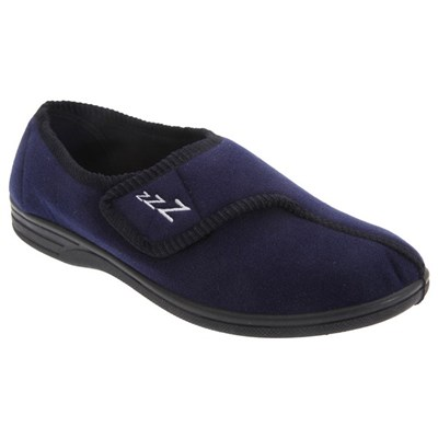 Zedzzz Mens Connor Touch Fastening Velour Slippers