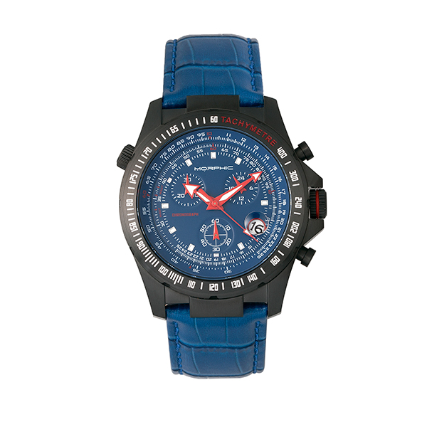 Morphic Gents M36 Series Watch with Genuine Leather Strap Black/Blue