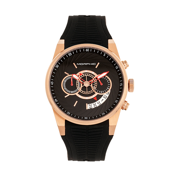 Morphic Gents M72 Series Watch with Silicone Strap Rose Gold
