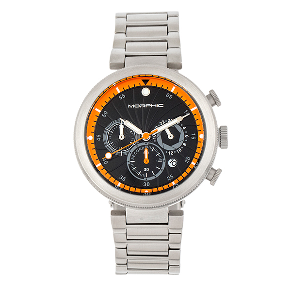 Morphic Gents M87 Series Watch with Stainless Steel Bracelet Black/Orange