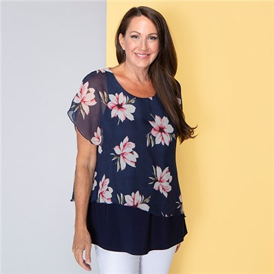 Nicole Floral Chiffon Layered Top
