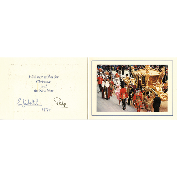 HM Queen Elizabeth II & Prince Philip Original Personal Xmas Card Personally Signed by Both No Colour