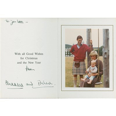 Princess Diana & Prince Charles Original Personal Xmas Card Personally Signed by Both