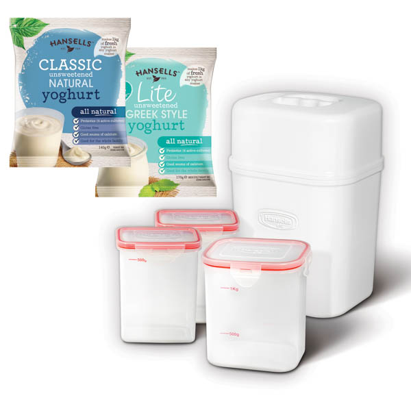 Hansells Starter Kit - Contains Yoghurt Maker and 2 Sachets of Yoghurt Powder Lite Greek & Classic