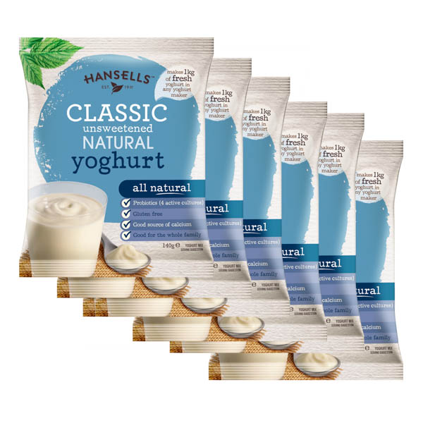 Hansells Natural Yoghurt Sachets - Pack of 6 No Colour