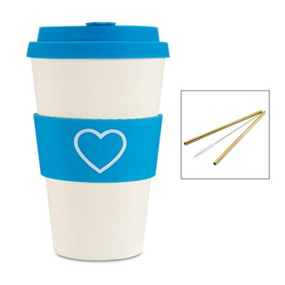 E Coffee Cup with Pack of 2 Reusable Straws