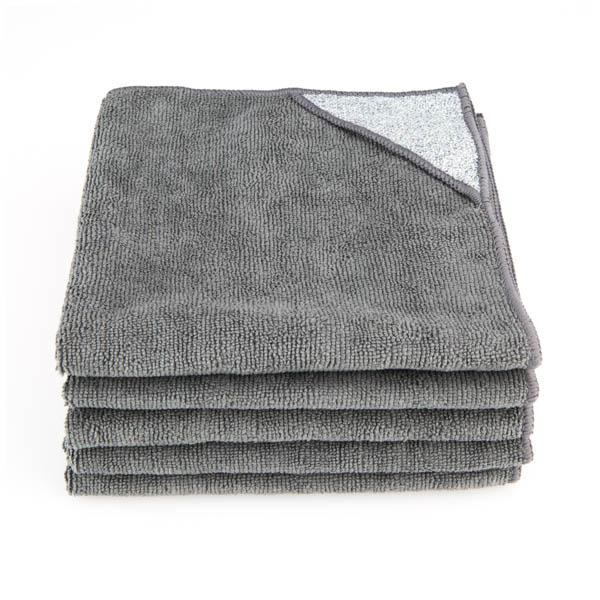 Grey Microfibre Cloths with Scouring Pad - Pack of 5 No Colour