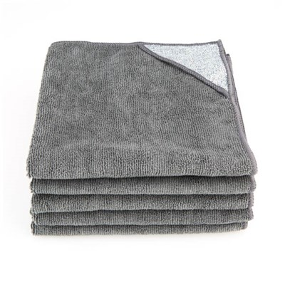 Grey Microfibre Cloths with Scouring Pad - Pack of 5