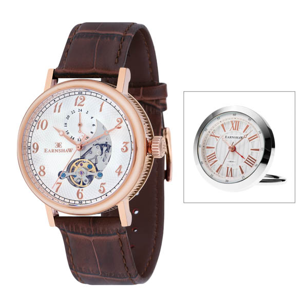 Thomas Earnshaw Gents IP Plated Beaufort Automatic Watch with Leather Strap White