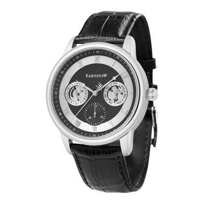 Thomas Earnshaw Gent's Longitude Multifunction Automatic Watch with Genuine Leather Strap