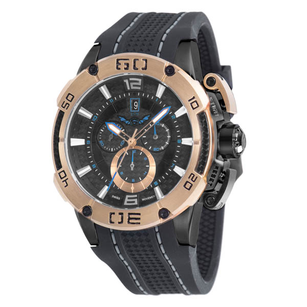 Infinity Swiss Gents Series 1001 Chronograph Watch on Silicone Strap Rose Gold