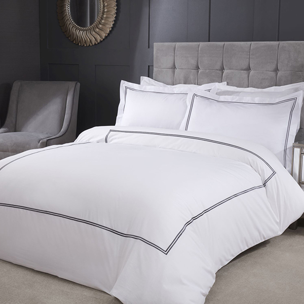 Mayfair Embroidered Single Duvet Set with Oxford Pillowcase Graphite