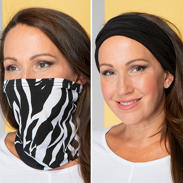 3-in-1 Print and Plain Snood - Pack of 2 Zebra/Black
