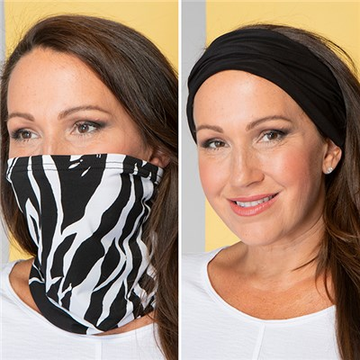 3-in-1 Print and Plain Snood - Pack of 2