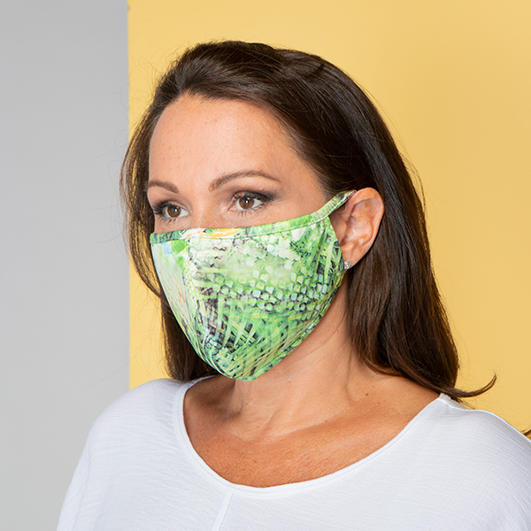 Printed Scuba Reusable Face Mask Green