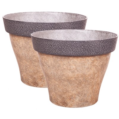 Pair of Diablo 39cm Round Brown Planters