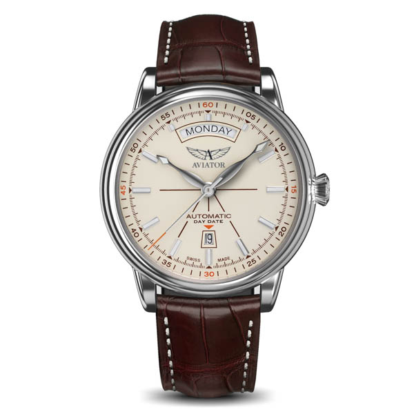 Aviator Douglas DC-3 Ltd Ed Swiss ETA Automatic Stainless Steel Day and Date Watch with Genuine Leather Strap Beige