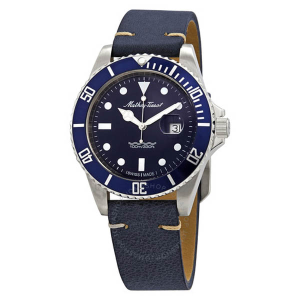 Mathey Tissot Swiss Rolly Quartz Watch on Genuine Leather Strap Blue