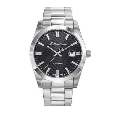 Mathey Tissot Swiss Automatic Stainless Steel Wave Watch with Stainless Steel Bracelet